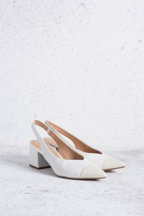 Scarpin Cherie Chanel Bicolor - Off White com Branco