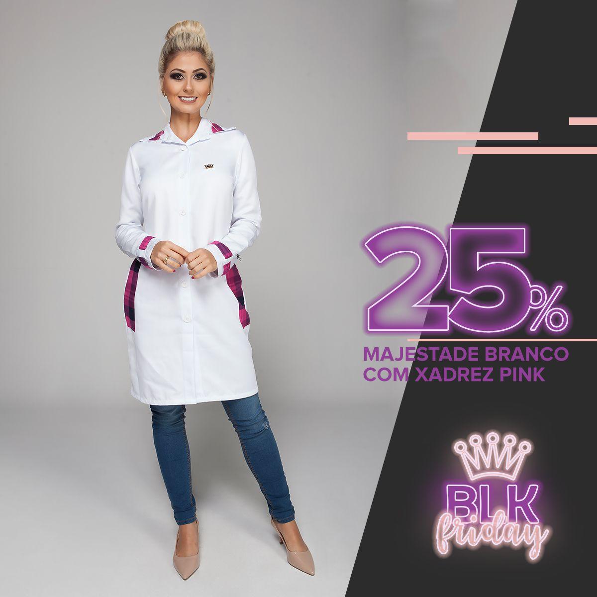 Majestade Branco com Xadrez Pink
