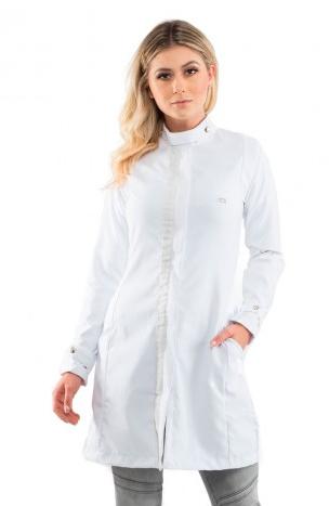 Jaleco Color Blend Branco com Faixa Brilhante