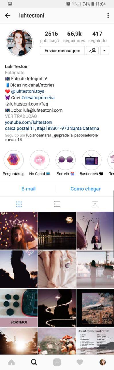 Instagram da Luh Testoni
