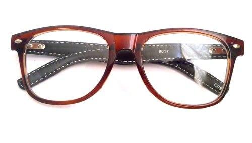 Óculos retrô com hastes em couro.