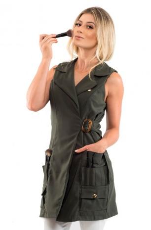 Jaleco Valentina Verde Militar para Maquiadoras